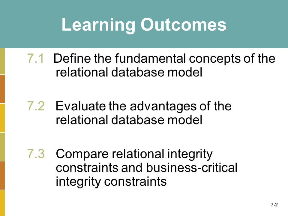 7-2 Learning Outcomes 7.1 Define the fundamental concepts of the relational database model 7.2 Evaluate the advantages of the relational database mode