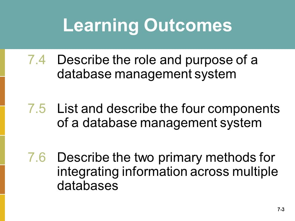 7-3 Learning Outcomes 7.4Describe the role and purpose of a database management system 7.5 List and describe the four components of a database managem
