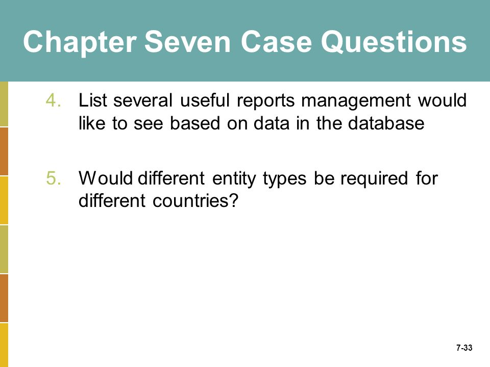 7-33 Chapter Seven Case Questions 4.List several useful reports management would like to see based on data in the database 5.Would different entity ty