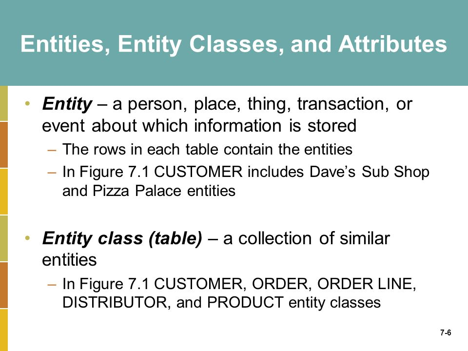 7-6 Entities, Entity Classes, and Attributes Entity – a person, place, thing, transaction, or event about which information is stored –The rows in eac