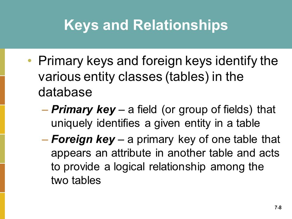 7-8 Keys and Relationships Primary keys and foreign keys identify the various entity classes (tables) in the database –Primary key – a field (or group
