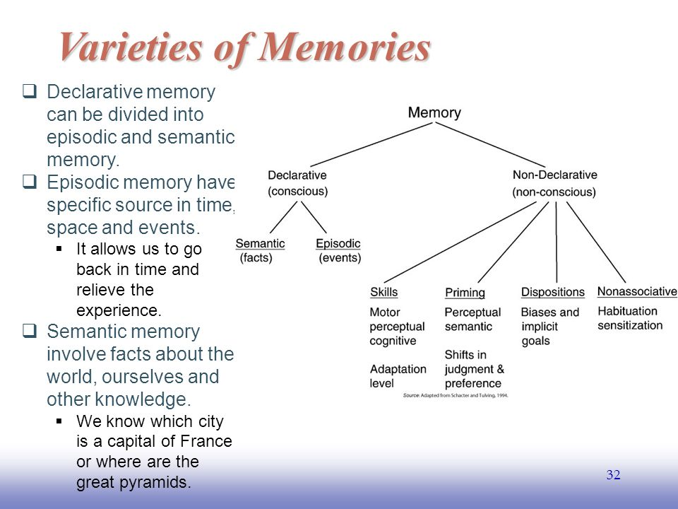 EE Varieties of Memories  Declarative memory can be divided into episodic and semantic memory.