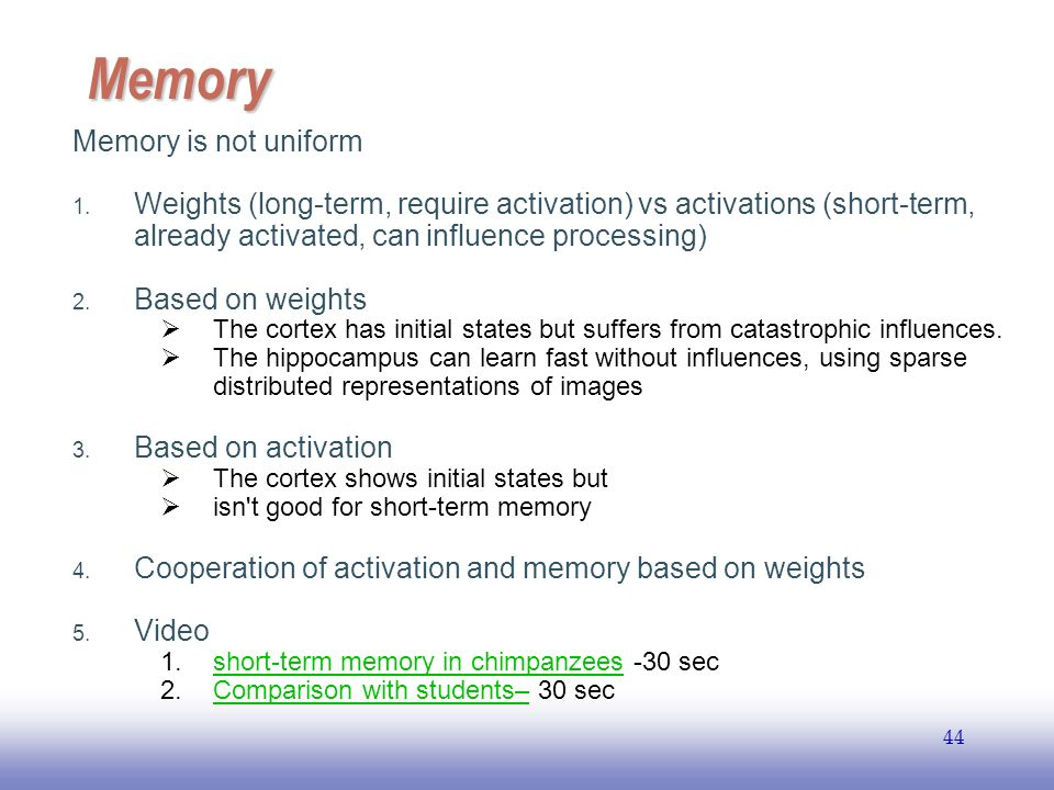 EE Memory Memory is not uniform 1.