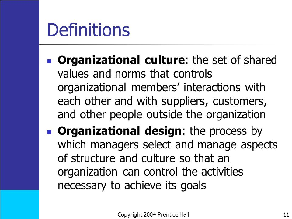 Copyright 2004 Prentice Hall 11 Definitions Organizational culture: the set of shared values and norms that controls organizational members' interactions with each other and with suppliers, customers, and other people outside the organization Organizational design: the process by which managers select and manage aspects of structure and culture so that an organization can control the activities necessary to achieve its goals