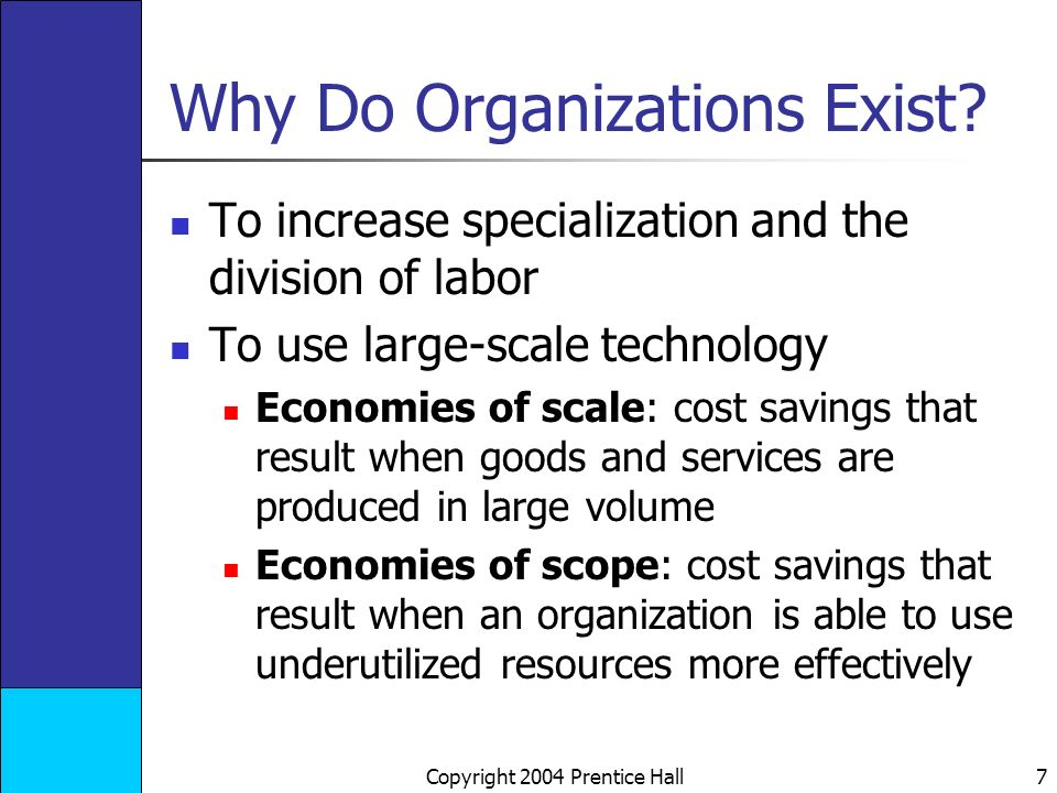 Copyright 2004 Prentice Hall 7 Why Do Organizations Exist.