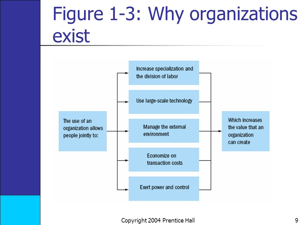 Copyright 2004 Prentice Hall 9 Figure 1-3: Why organizations exist