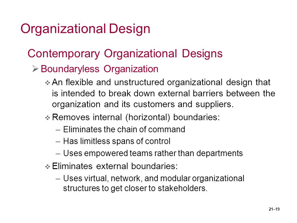 21–19 Organizational Design Contemporary Organizational Designs  Boundaryless Organization  An flexible and unstructured organizational design that is intended to break down external barriers between the organization and its customers and suppliers.