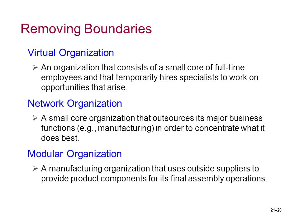 21–20 Removing Boundaries Virtual Organization  An organization that consists of a small core of full-time employees and that temporarily hires specialists to work on opportunities that arise.