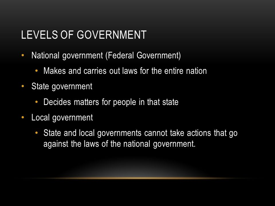 LEVELS OF GOVERNMENT National government (Federal Government) Makes and carries out laws for the entire nation State government Decides matters for people in that state Local government State and local governments cannot take actions that go against the laws of the national government.