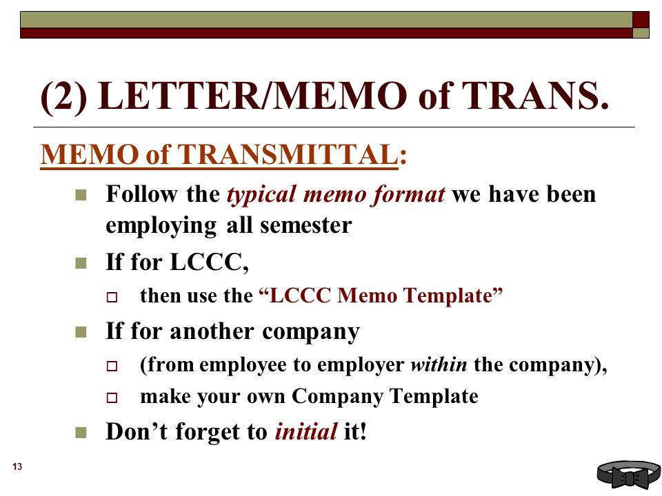 Transmittal Memo Template