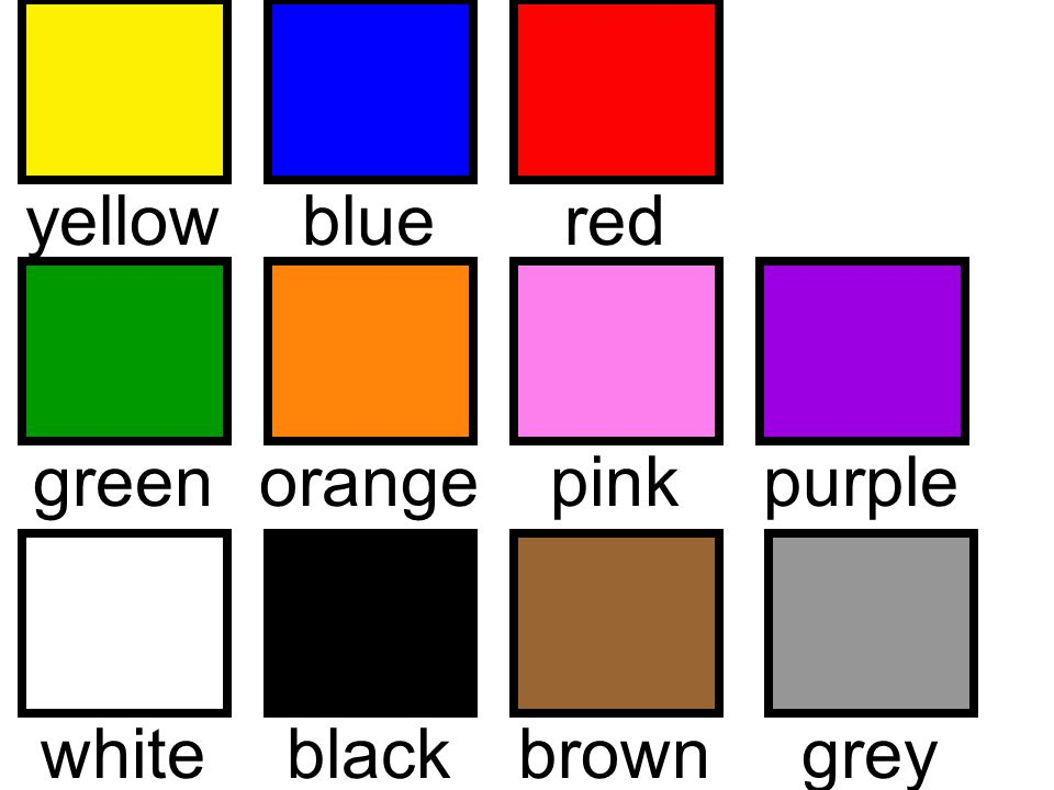 yellowblueredgreenorangepinkwhiteblackbrowngreypurple