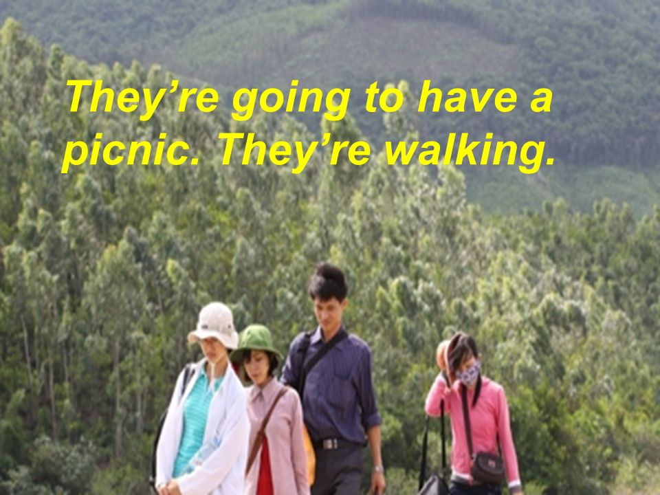 They're going to have a picnic. They're walking.