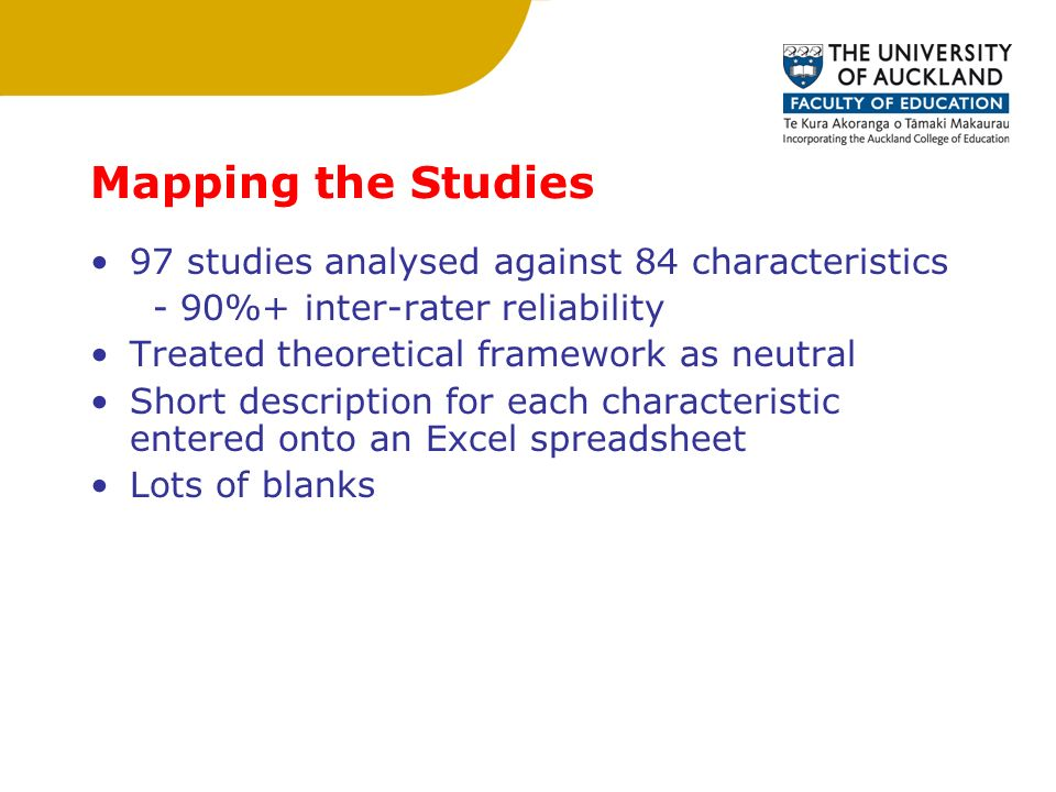 Mapping the Studies 97 studies analysed against 84 characteristics - 90%+ inter-rater reliability Treated theoretical framework as neutral Short description for each characteristic entered onto an Excel spreadsheet Lots of blanks