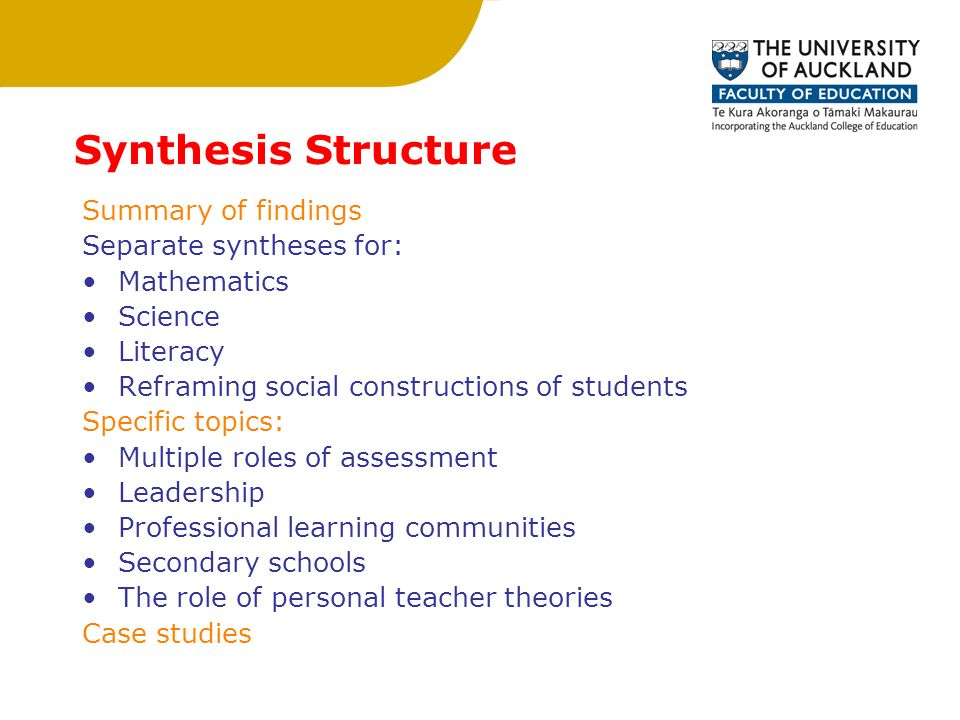 Synthesis Structure Summary of findings Separate syntheses for: Mathematics Science Literacy Reframing social constructions of students Specific topics: Multiple roles of assessment Leadership Professional learning communities Secondary schools The role of personal teacher theories Case studies