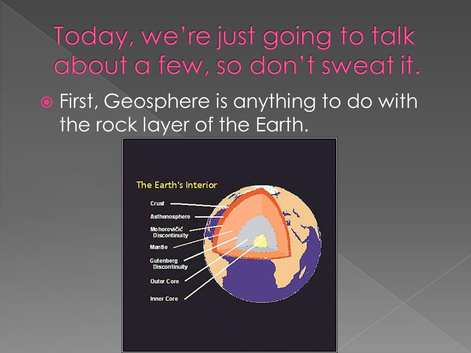  First, Geosphere is anything to do with the rock layer of the Earth.