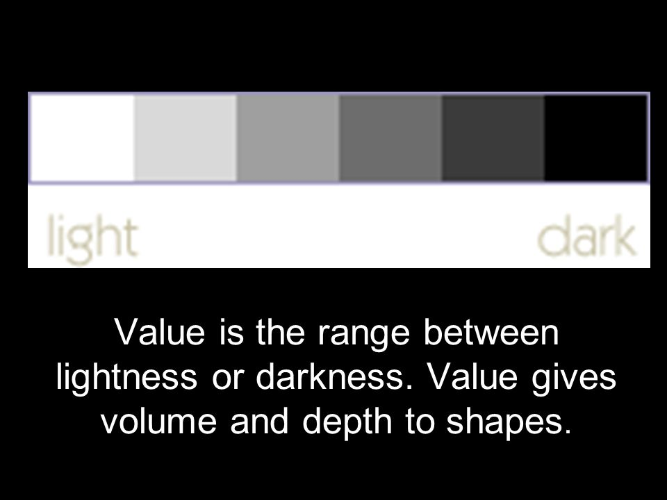 Value is the range between lightness or darkness. Value gives volume and depth to shapes.
