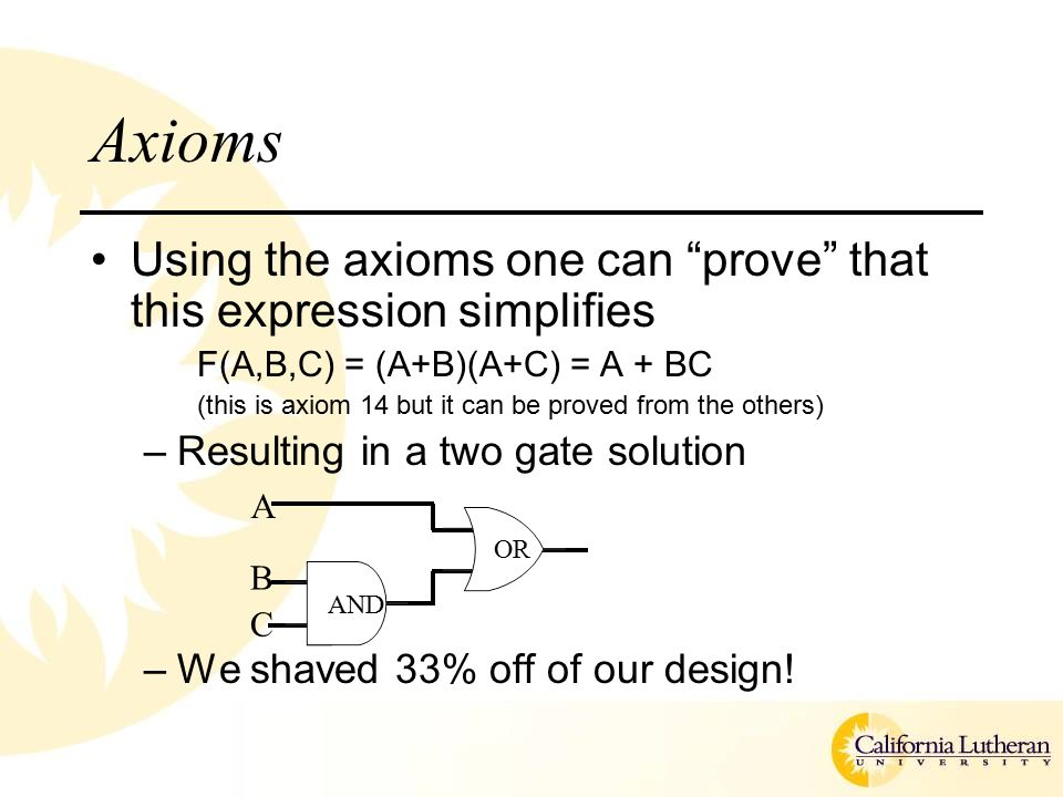 Axioms Using the axioms one can prove that this expression simplifies F(A,B,C) = (A+B)(A+C) = A + BC (this is axiom 14 but it can be proved from the others) –Resulting in a two gate solution –We shaved 33% off of our design.