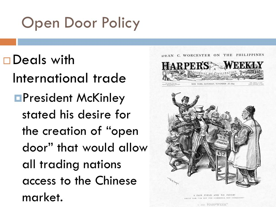 the open door policy essay Best answer: the open door policy was begun by john hays (not sure if begun is correct term) and was directed at china its purpose was to bring the world powers.