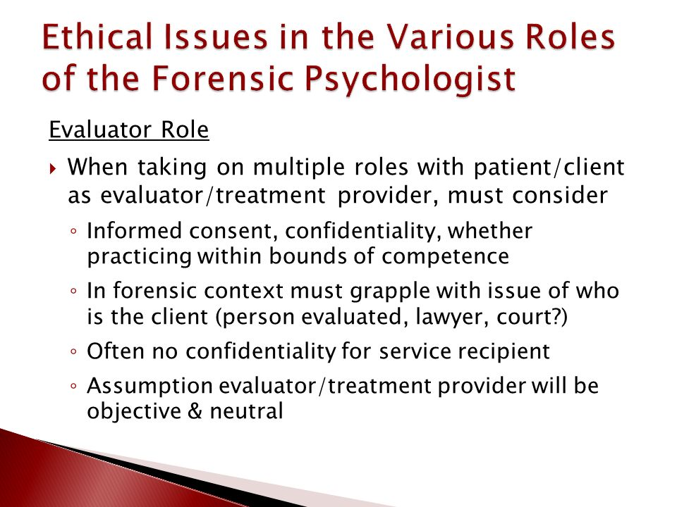 the role of forensic psychologists Forensic psychology is a specialty in professional psychology characterized by activities primarily intended to provide professional psychological expertise within the judicial and legal systems.