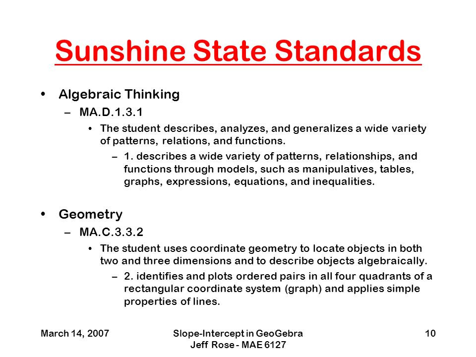 the sunshine state standards essay