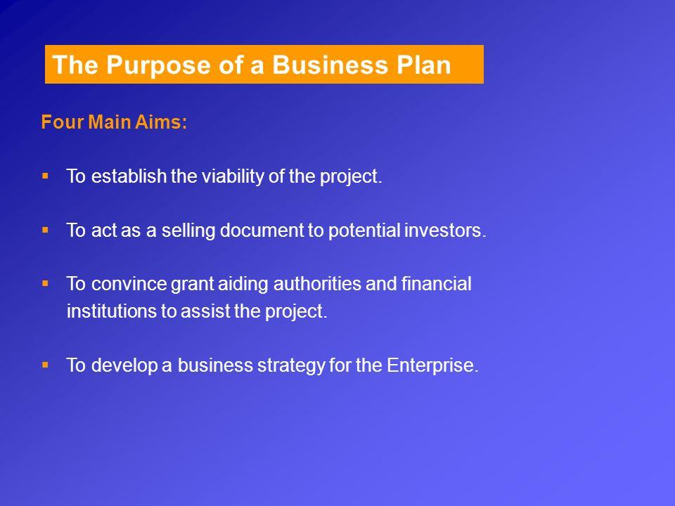 Business Plan Purpose