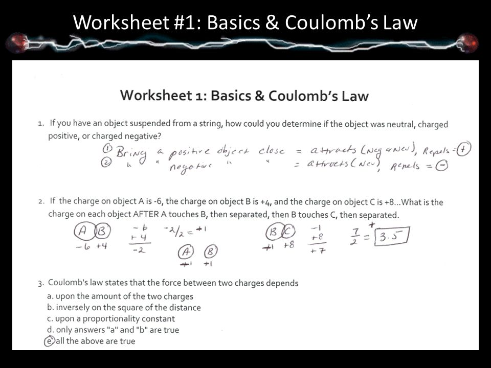 Unit 5 Packet Answers Notes. Worksheet #1: Basics & Coulomb's Law ...