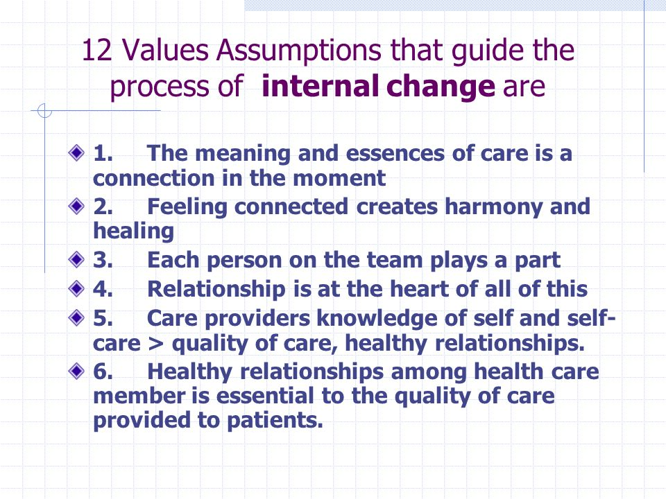 12 Values Assumptions that guide the process of internal change are 1.