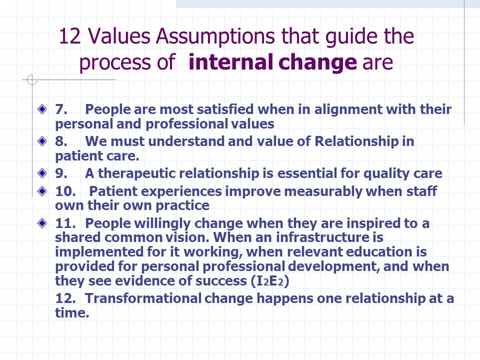 12 Values Assumptions that guide the process of internal change are 7.