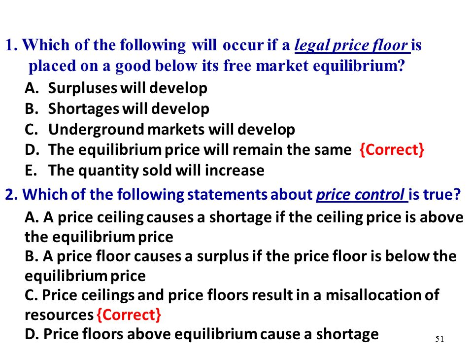 Which Of The Following Statements About Price Control Is True? 50. Practice  Questions 1. 51 1.