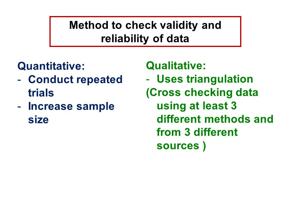 Method to check validity and reliability of data Quantitative: -Conduct repeated trials -Increase sample size Qualitative: -Uses triangulation (Cross checking data using at least 3 different methods and from 3 different sources )