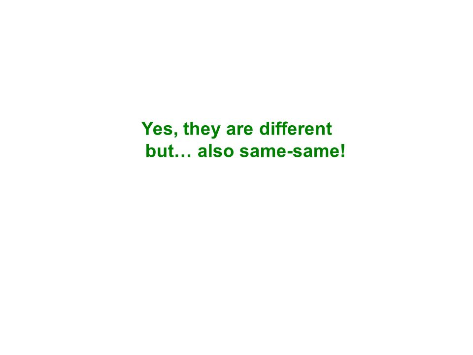 Yes, they are different but… also same-same!