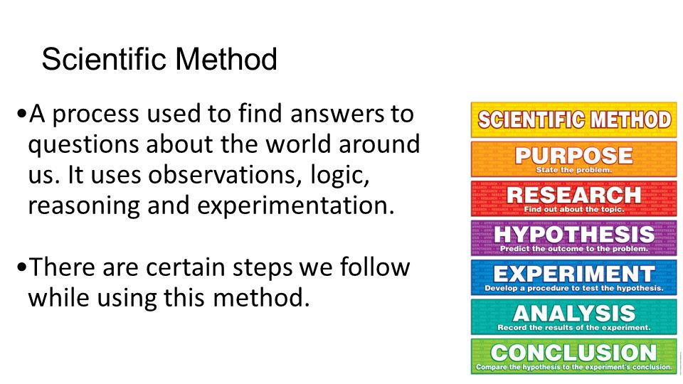Scientific Method A process used to find answers to questions about the world around us.