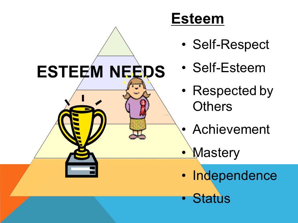 ESTEEM NEEDS Self-Respect Self-Esteem Respected by Others Achievement Mastery Independence Status Esteem