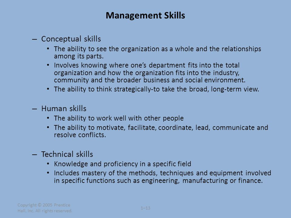 Management Skills – Conceptual skills The ability to see the organization as a whole and the relationships among its parts. Involves knowing where one