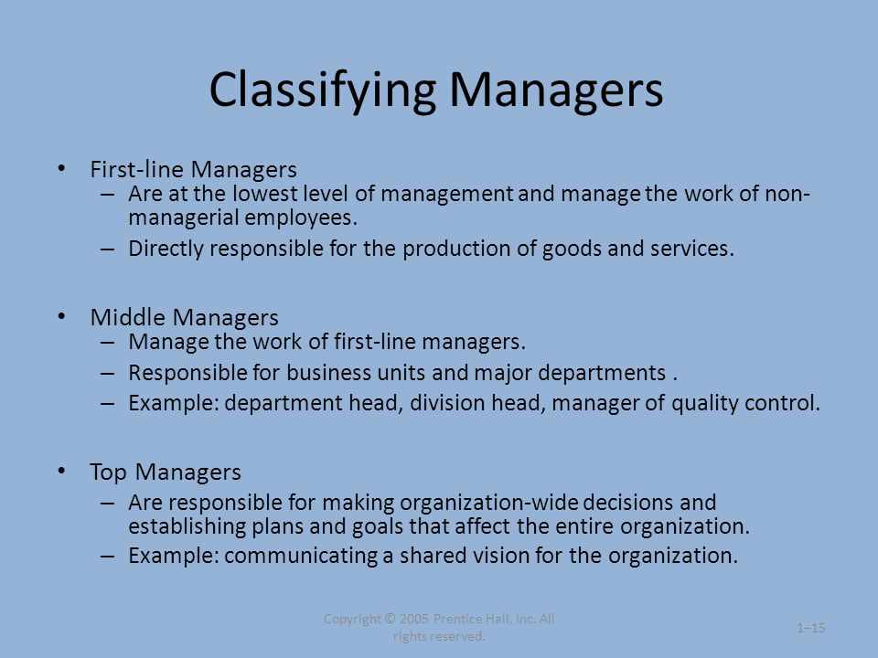 Classifying Managers First-line Managers – Are at the lowest level of management and manage the work of non- managerial employees. – Directly responsi