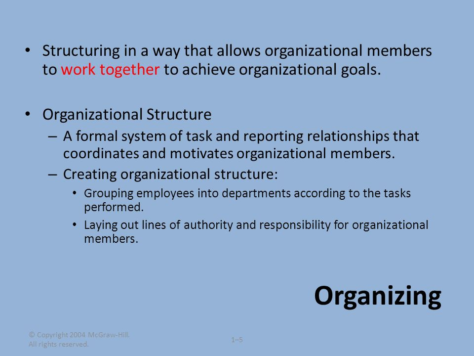 Structuring in a way that allows organizational members to work together to achieve organizational goals.
