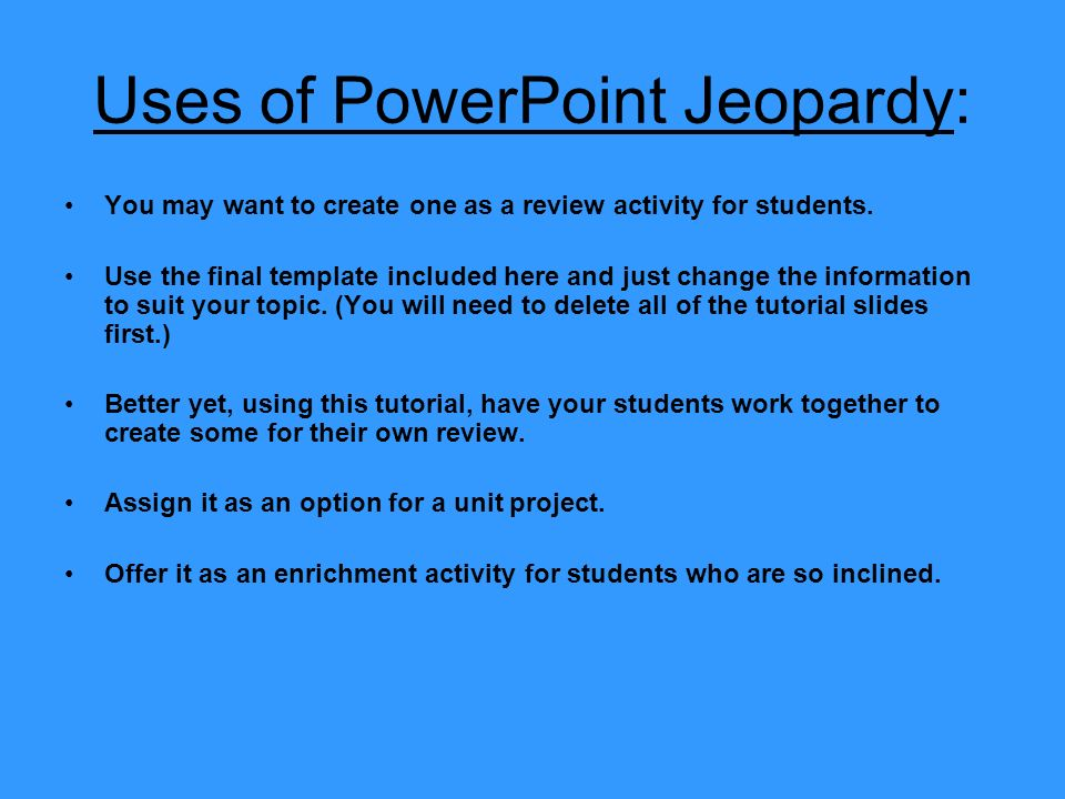 4th Grade Language Arts Review Jeopardy Template
