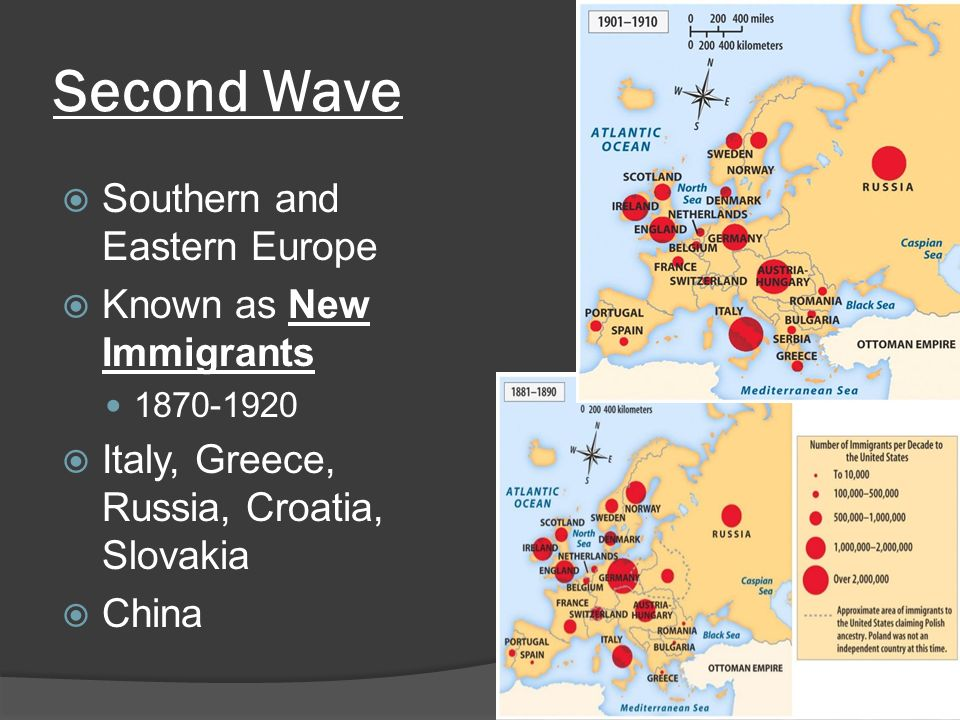 Second Wave  Southern and Eastern Europe  Known as New Immigrants  Italy, Greece, Russia, Croatia, Slovakia  China