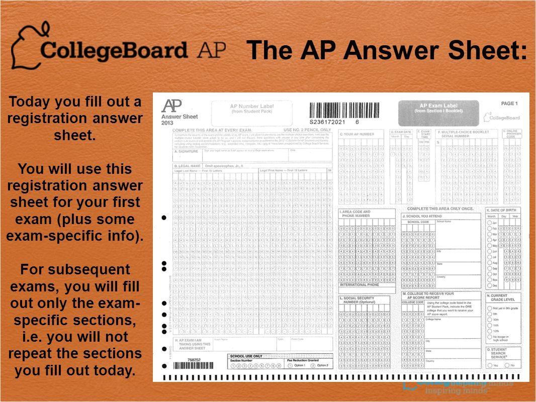 2009 AP ® Preadministration Session Today you fill out a registration answer sheet.