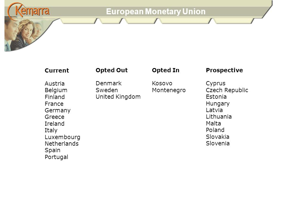 European Monetary Union Opted Out Denmark Sweden United Kingdom Current Austria Belgium Finland France Germany Greece Ireland Italy Luxembourg Netherlands Spain Portugal Opted In Kosovo Montenegro Prospective Cyprus Czech Republic Estonia Hungary Latvia Lithuania Malta Poland Slovakia Slovenia