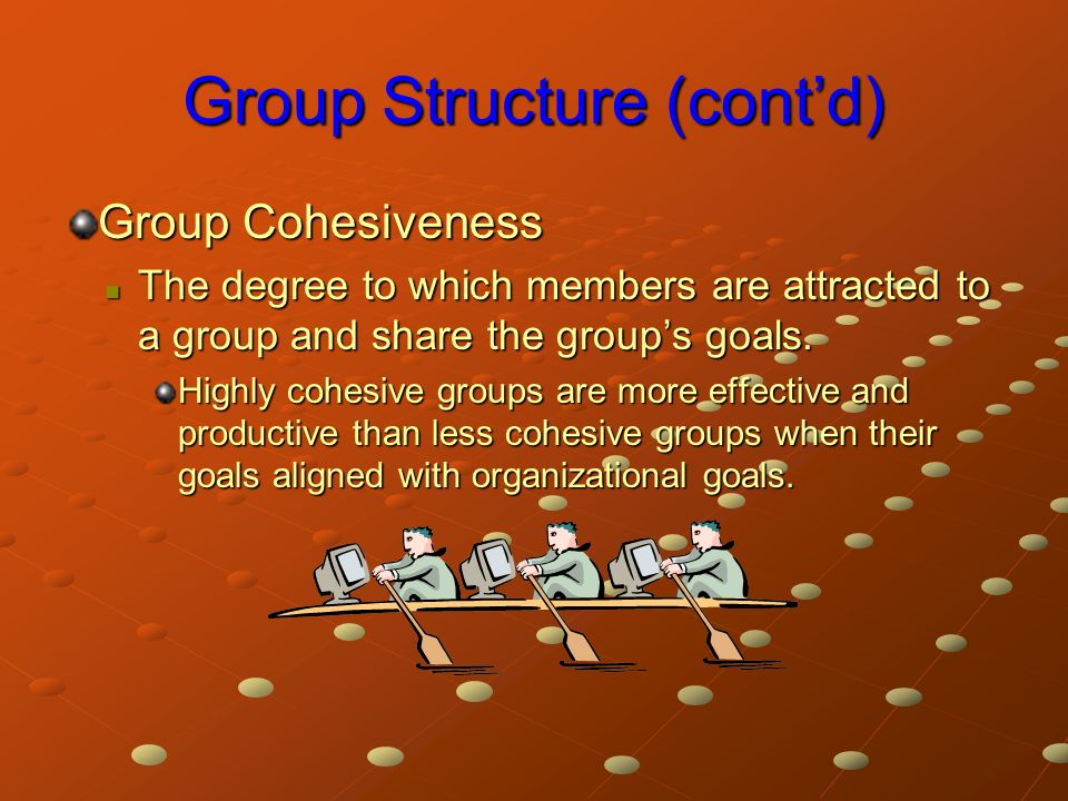 Group Structure (cont'd) Group Cohesiveness The degree to which members are attracted to a group and share the group's goals.