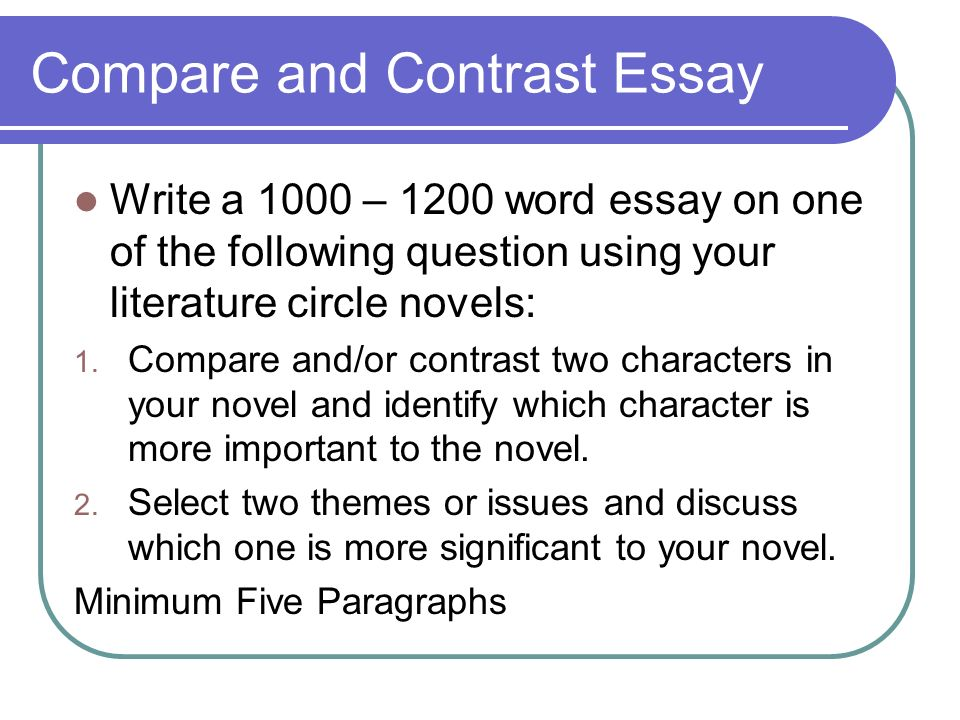 compare-and-contrast essays typically do not do which of the following Need to learn the finer points of writing a compare and contrast thesis statement a compare and contrast essay is usually to do the following steps.