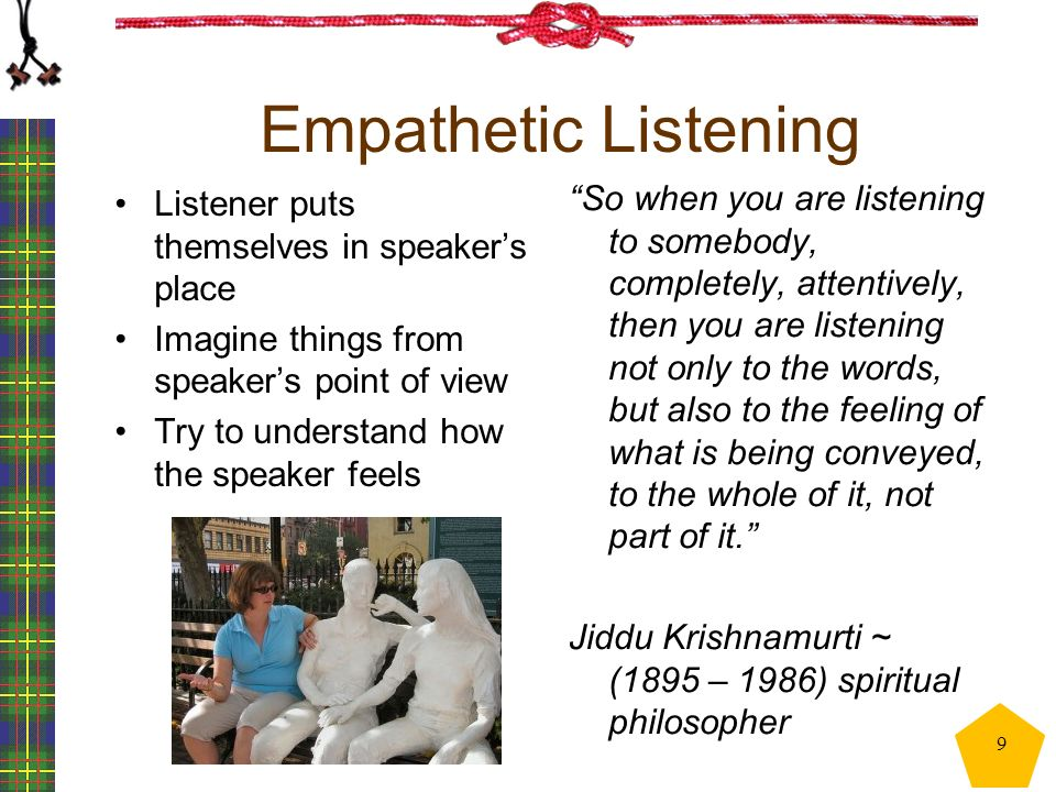Empathetic Listening Listener puts themselves in speaker's place Imagine things from speaker's point of view Try to understand how the speaker feels ""