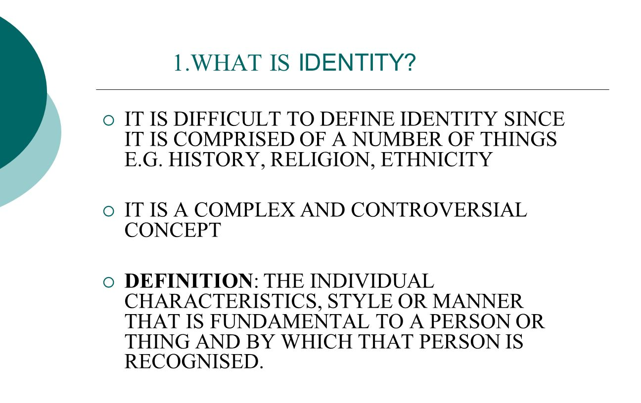 define the concept of identity