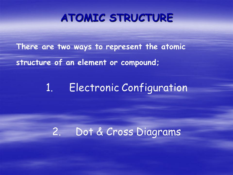 ATOMIC STRUCTURE There are two ways to represent the atomic structure of an element or compound; 1.Electronic Configuration 2.Dot & Cross Diagrams