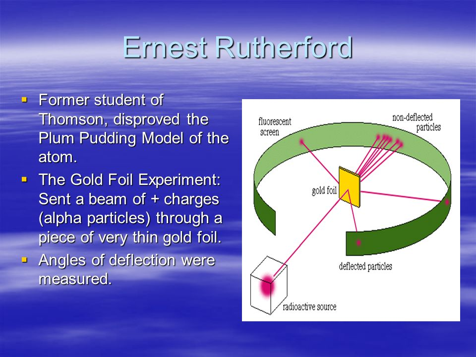 Ernest Rutherford  Former student of Thomson, disproved the Plum Pudding Model of the atom.