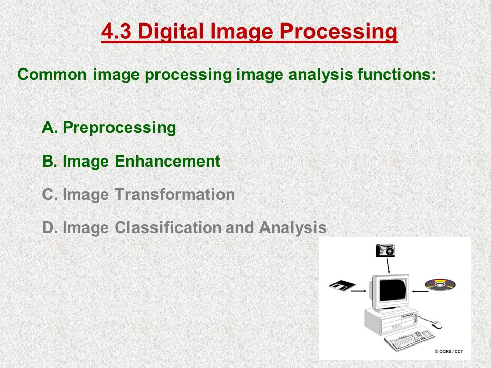 4.3 Digital Image Processing Common image processing image analysis functions: A.