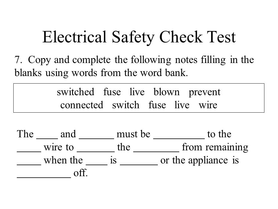 Electrical Safety Check Test 7.
