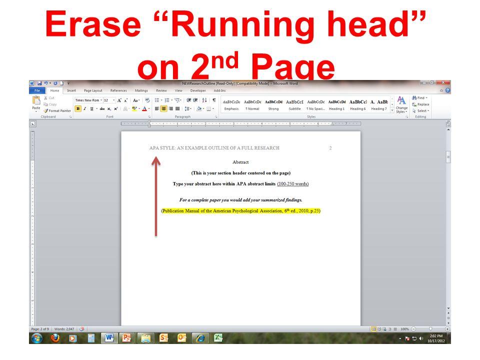 running head apa format