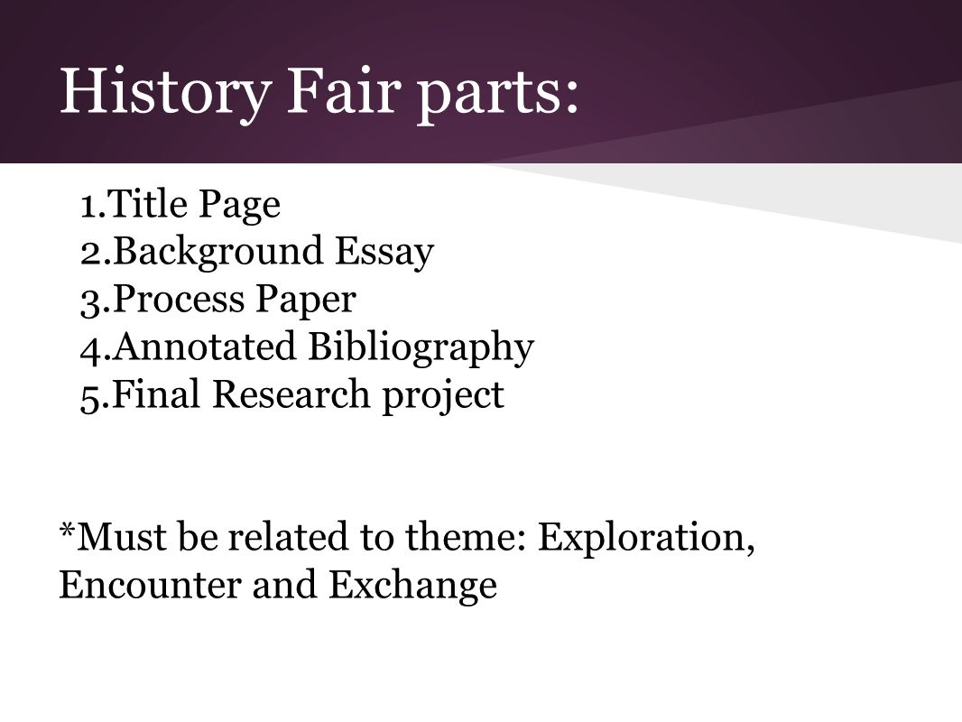 history fair research paper Knowing how to write an introduction is yet another part of the process of writing a research paper.